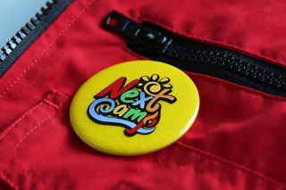 badge on red bag
