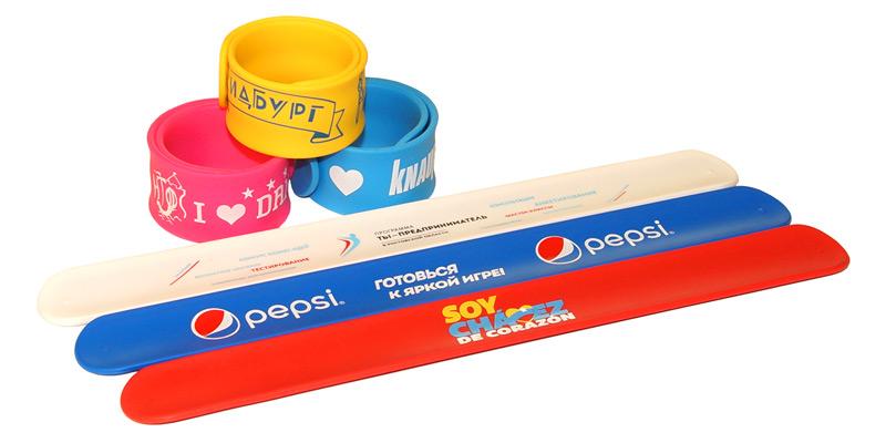 Силиконовые слэп (слеп) браслеты c логотипом (круговая шелкография)
