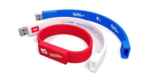Силиконовые браслеты флешки с нанесением логотипа